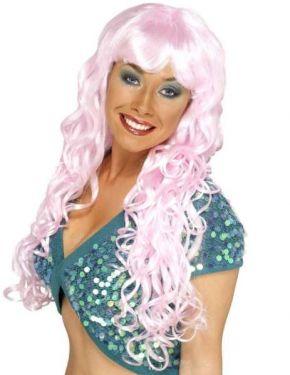 Ladies Fancy Dress Siren Wig - Pink